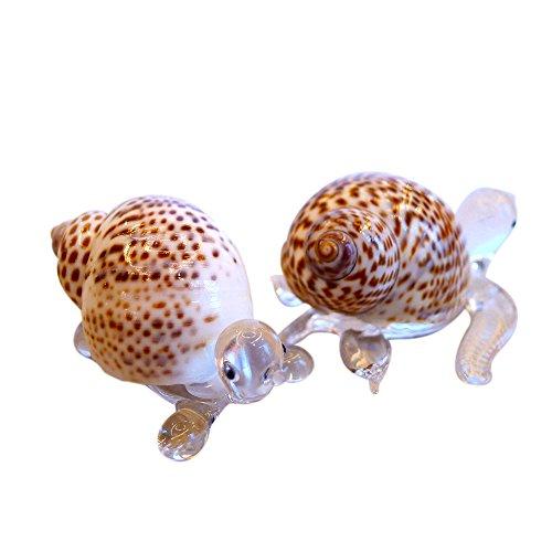 Sansukjai 2Pcs Turtle & Meer Schildkröte Figuren aus Sammelfiguren Mundgeblasenes Glas Mix Natürliche Shell Beach Tiere Geschenk Home Decor # 6