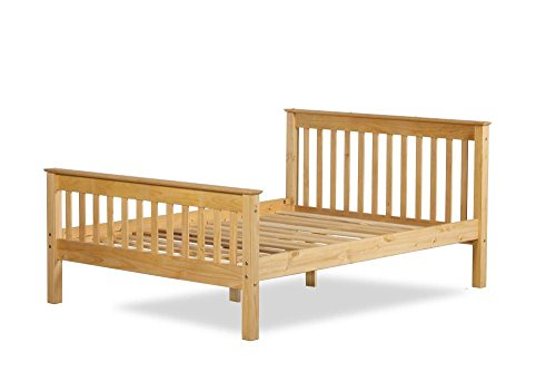 Happy Beds Somerset Solid Waxed Pine Wooden Bed Bedroom Furniture with Pocket Flexi Mattress 4'6'' Double 135 x 190 cm