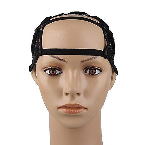 Beauty7 Wig Cap Cap de Perruque Milieu Large U-Part Wig Noir Casquette de Base avec Sangle Reglable - M Taille - Chapeau pour Extension de Cheveux Filet A Cheveux Chapeaux Bonnet Perruque Deguisement DIY Mesh Dome Cap