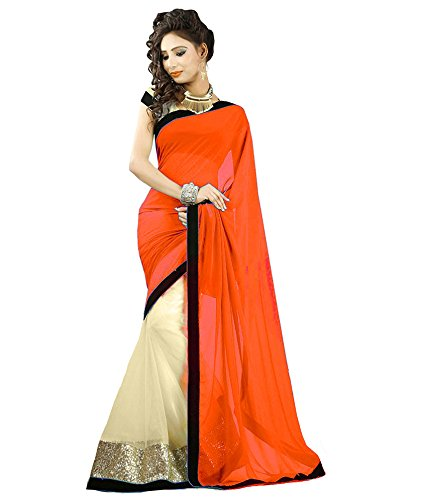Janasya Women's Faux Georgette Saree (JNE0796_Orange)  available at amazon for Rs.399