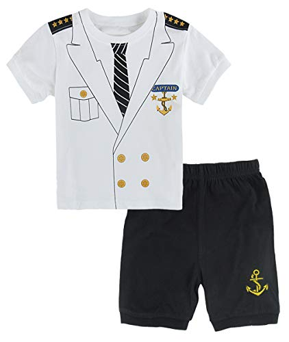 Mombebe Baby Jungen Kapitän Kostüm Kleidung Shirt Sets (6-12 Monate/80 UK, Kapitän) (Uk Halloween-kostüme 6-12 Monat)
