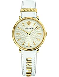 Versace Women's 'MANIFESTO EDITION' Swiss Quartz Gold-Tone and Leather Casual Watch, Color:White (Model: VBP100017)