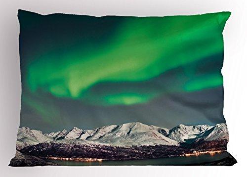 Aurora Kissen (Lunarable Natur Kissen Sham, Aurora vor Fjords Magical Nordic Northern Lights Sky Arctic Solar Scenery, Dekorative Standard Größe Gedruckt Kissenbezug, Jade und Grün 36