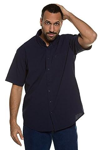 JP 1880 Herren große Größen | Halbarm Hemd in weiß & navy| 100 % Baumwolle | Modern Fit | Button-Down-Kragen, Seesrucker & Struktur-Qualität | Bis Größe 7 XL | navy XXL 708645