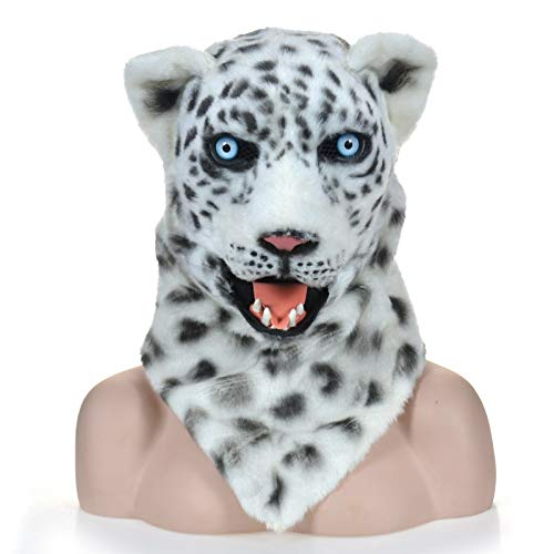 WENQU Moving Mouth Naturalistic Animal Snow Leopard Maske Kreatur Karnevalskostüm Masken (Color : White, Size : 25 * 25) (Halloween Kostüm Snow Leopard)