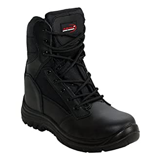 A&H Footwear Mens Arma Black Lace Up/Zip Up Genuine Leather Military Combat Waterproof Safety Steel Toe Cap Boots UK Sizes 7-12 (UK 10, Black)