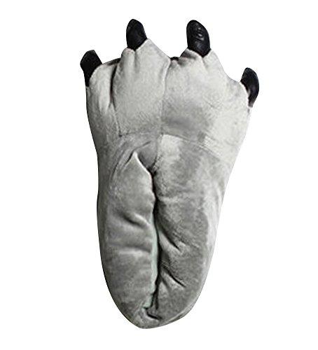 Femmes Hommes Unisexe Confortables Chaussures chaudes dhiver Animaux Souple en Peluche Slipper Pantoufle Chaussons Gris
