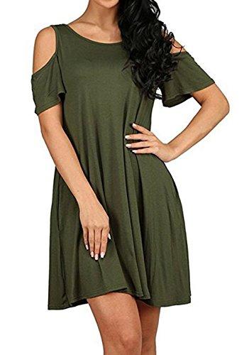 Jc.Kube Damen Mini Sommerkleid Strandkleid Green