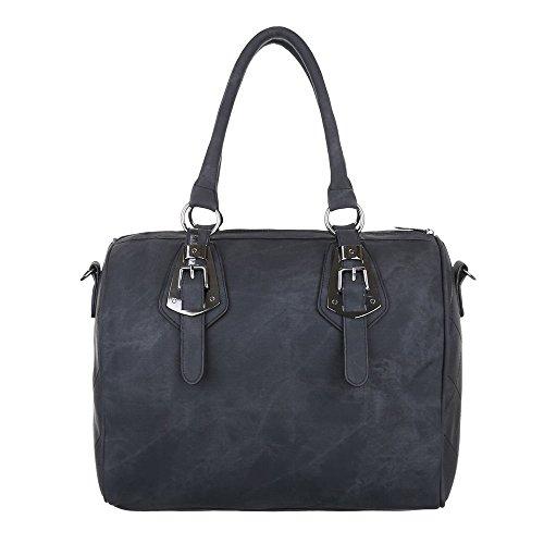 Damen Tasche, Schultertasche, Mittelgroße Handtasche Tragetasche, Kunstleder, TA-5856 Schwarz