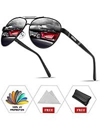 d9ac36dc98 ATNKE Retro Aviator Polarized lunettes de soleil pour hommes Femmes  Surdimensionné avec cadre en métal Reflective