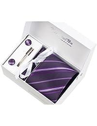 Rayures Violettes Ensemble Cravate étanche d'homme , Mouchoir, épingle et boutons de manchette coffret cadeau