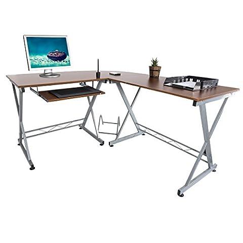 Harima - Bixby Professional Walnut Corner Office / Home Computer Desk With Sliding Extendable Keyboard (Ufficio Noce Scrivania)