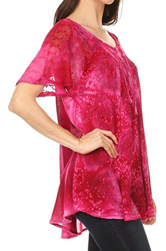 Sakkas Lena Tie-dye à manches courtes Chemisier Top avec crochet et broderie dentelle Fuchsia