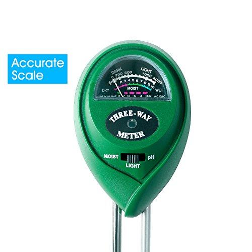 Bodenmessgerät 3-IN-1 Feuchtigkeitsmesser pH Messgerät Lichtstärkermesser für Boden Pflanzen Blumen Rasenpflege Bauerhof und Hobbygärtner