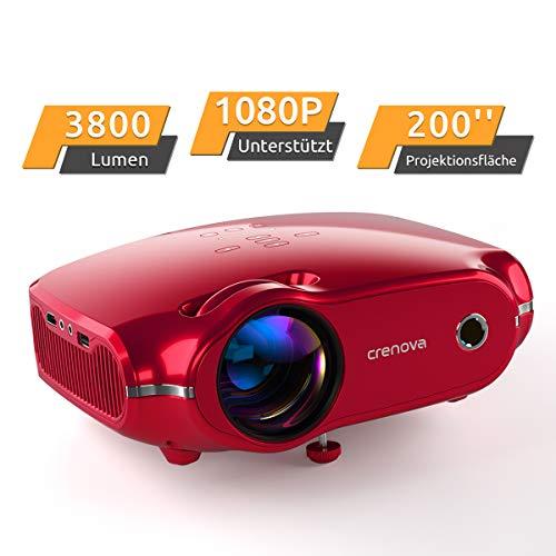 """Projektor, portabler Crenova Mini HD Beamer 1080P unterstützt, 3800 Lumen Beamer mit 200"""" Bildgröße und für PC/MAC/DVD/TV/Xbox/Filme/Spiele/Smartphone mit kostenlosem HDMI-Kabel, Rot"""