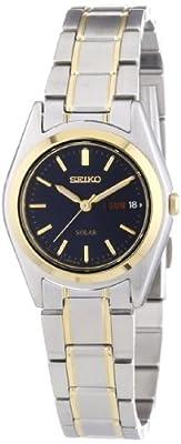 Seiko Solar - Reloj de cuarzo para mujer, con correa de acero inoxidable chapado, color multicolor