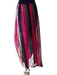 sourcingmap® Women Color Block Elastic Waist Pleated Chiffon Maxi Skirt