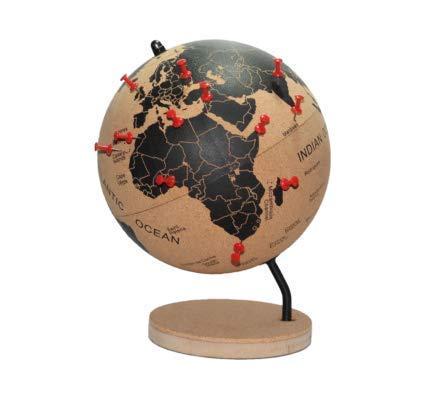 DRW Bola del Mundo - Globo terráqueo Corcho con chinchetas para marcar Paises o Viajes 21 x 18 x 18 cm