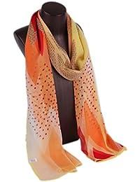 Prettystern HL761 - 180cm Mousseline de soie foulard de soie - Point & géométrie de patrouille - 4 couleurs