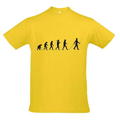 T-Shirt - EVOLUTION - Nordic Walking Sport FUN KULT SHIRT S-XXL , Gold - schwarz , S