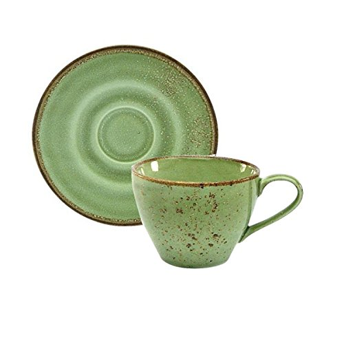 Kaffeetasse Teetasse Cappuccinotasse + Untertasse NATURE COLLECTION | Steinzeug | Green - Grün | 200 ml