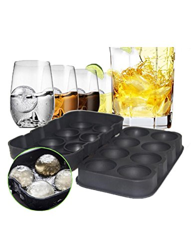 Ice Cube Tabletts Sphere Silikon Ice Ball Maker 8, ideal für Gin Gläser, Whiskey, Cocktail, Party und jedes drink-100% BPA-frei, Schwarz (Party Supplies Hamilton)