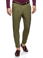 Idea Regalo - oodji Ultra Uomo Pantaloni Chino con Cintura, Verde, IT 40 / EU 36 (XS)