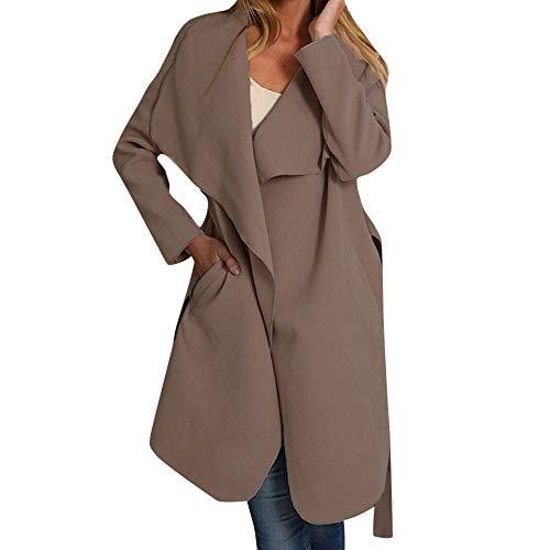 Frauen Maxi Offene Cardigan Mantel mit Tasche MYMYG Damen Langarm Strickjacke Mantel Anzug Top Open Front Jacke ()