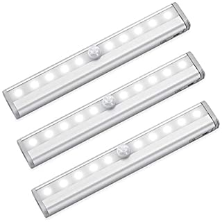Criacr Motion Sensor Light Bar, (10 LED, 3 Pack) Sensor Wardrobe Light, Wireless LED Closet Night Light with Stick-On Magnetic Strip, Auto On/Off, Battery Operated for Cabinet, Stairs, Pure White