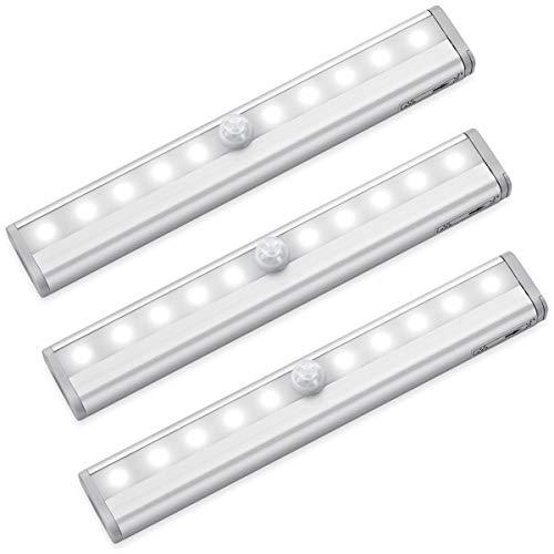 AMIR LED Schrankbeleuchtung, 3er Set Batteriebetrieben Bewegungssensor Licht