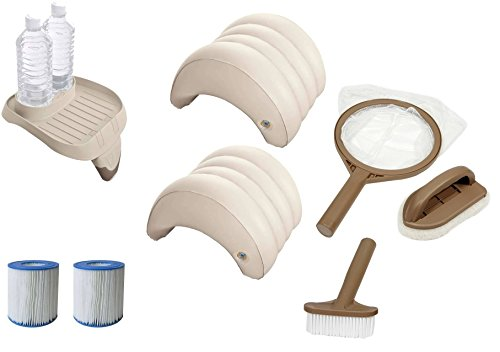 harren24 Intex original Zubehör-Set 8-teilig für PureSpa Whirlpools (2X Filter S1, 1x Tablett 28500, 2X Kopfstützen 28501, Reinigungset 28004)