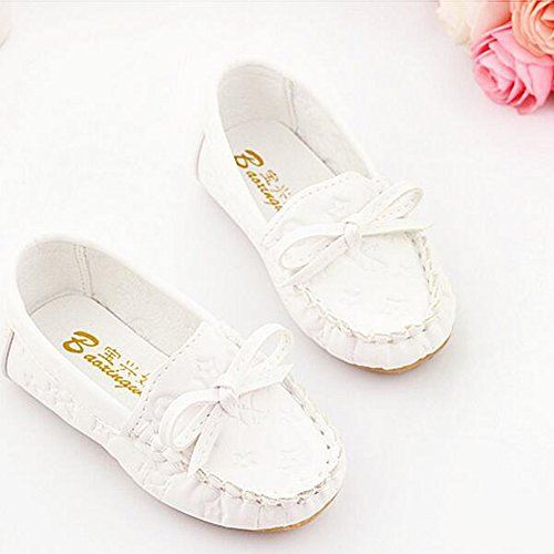 Bambin/ Peu Enfant Garçons Filles Glisser sur Flâneurs Oxford Chaussures Pour 1-5 Ans Enfants Blanc