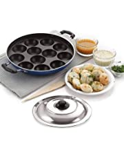 BMS Lifestyle Non-Stick 12 Cavity Appam Patra Side Handle with lid, Color May Vary