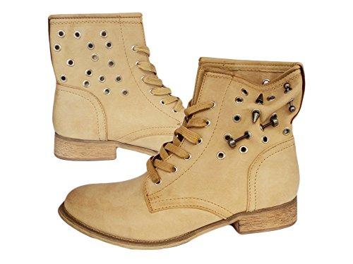 Femme Boots, Lacets Lacets Boots Bottines pour femme Beige - Marron