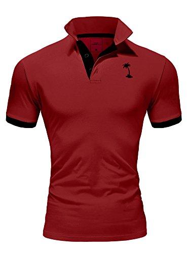 Ombre-Eight Herren Poloshirt Kontrast T-Shirt Polo O-222 [Weinrot, L]