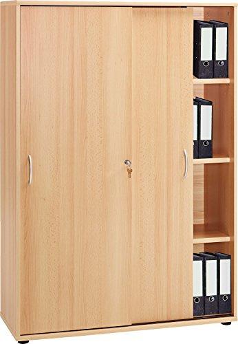 VCM Schrank Aktenschrank Büroschrank Ordnerschrank Büromöbel Regal Omegos 480 Buche