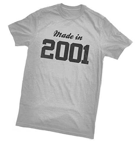 """Made in 2001 T-Shirt - fun birthday gift - wrapping and gift message service available - grey - all sizes (unisex S/38"""""""