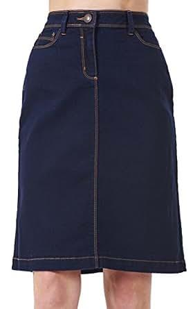 bhs a line denim womens blue stretch knee length
