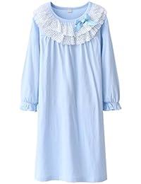 Juleya Niñas Cute Princess Nighties Lace & Bowknot Camisones Primavera Otoño Pijamas Long Sleeve Sleepwear Camisas Para 3-8 Años