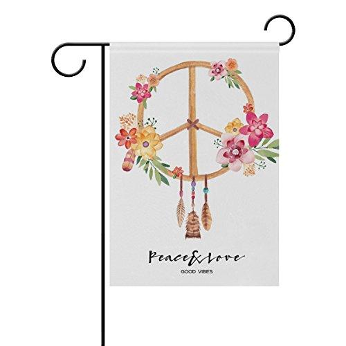 Doppelseitig Polyester Colorful Frieden Anmeldung Peace sign Floral Flower House Garten Flagge Banner 12x 18/71,1x 101,6cm für Hochzeit Party alle Wetter, Polyester, multi, 28x40 -