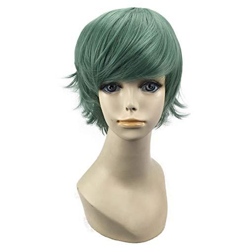 me Kurze Lockige Haare Synthetische Natürliche Flauschige Hitzebeständige Locken Hohe Qualität Cosplay Halloween Party, 26-28 cm Haarteile (Farbe : Grün) ()