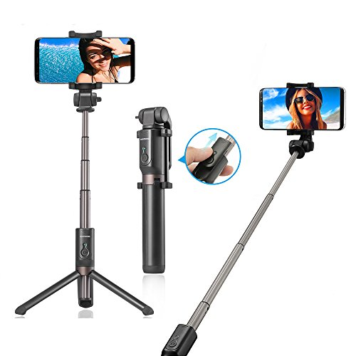 Treppiedi Selfie Bastone Selfie Stick Con Bluetooth, RIVERSONG Wireless Remote Shutter Aggiustabile Treppiede per Iphone 8 / 7s / 7plus / 7 Huawei Samsung Note8 / S8 Oneplus Bq Lg 3.5-6 Pollices (nero002)