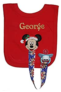 Mickey Mouse Personalised Christmas Bib with Dummy Clip & Dummy, Handmade in the UK with embroidered name.