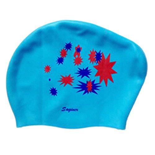 Schöne Entwurfs-wasserdichte Premium-Langes Haar Schwimmkappe für Frauen Blau