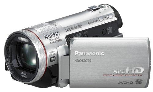 Panasonic HDC-SD707EG-S Full-HD Camcorder (SD/SDHC/SDXC-Karte, 12-fach optischer Zoom, 7,6 cm (3 Zoll) Display, USB 2.0) silber