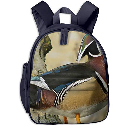 Kinderrucksack Holz Ente Tier, Schulrucksack für Mädchen und Jungen Schultasche Schulranzen Teenager Backpack Daypack Freizeitrucksack Kinder Rucksack -