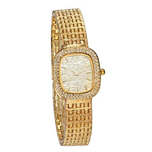 nalog Quarz 30M wasserdichte Armbanduhr Einzigartige Lässige Metall-Armband Frauen Uhren mit Rechteckige Strass Lünette, Gold ()