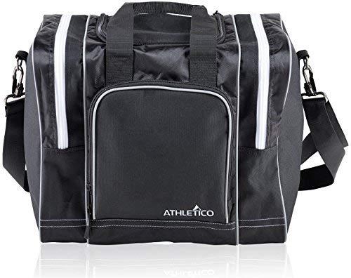 Athletico Bowling Tasche für Single Ball-Single Ball Tasche mit Gepolsterter Ballhalter-passt eine Single-Paar Bowlingschuhe bis zu Herren Größe 15, Kingpin Bowling Bag, schwarz