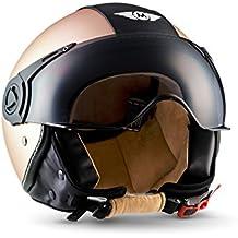 Moto Helmets H44Biker Jet Casco de moto casco de scooter casco chopper Vintage cruiser pilot bobber roller de casco de casco helmet vespa retro–Certificado ECE incluye bolsa plástico, color bronce