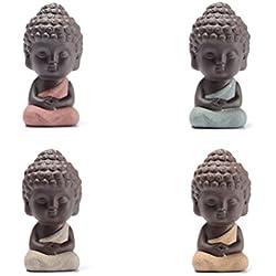 vorcool 4unidades Mini Buda Feng Shui Figura té Tray Ceremonia del Té accesorios Auto Ornament mesa decoración